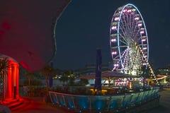 Bournemouth stort hjul på natten arkivbilder