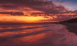 Bournemouth strand på solnedgången arkivfoto