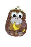 Bourse animale adorable de pièce de monnaie de portefeuille d'isolement sur le fond blanc Photographie stock libre de droits