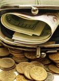 Bourse avec de l'argent Images libres de droits