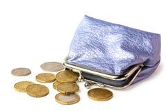 Bourse avec de l'argent de poche d'isolement sur le blanc Photo libre de droits