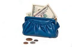 Bourse avec de l'argent, dollars Photos stock