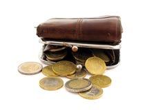 Bourse avec des pièces de monnaie Images libres de droits