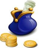 Bourse bleue avec de l'argent illustration de vecteur