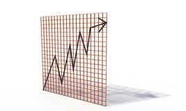 Bourse chart,  on the white 3d render Royalty Free Stock Photos