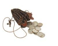 Bourse de pièce de monnaie de cru avec de vieilles pièces de monnaie Image libre de droits