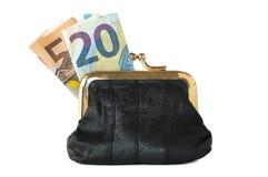 Bourse de pièce de monnaie d'isolement avec des billets de banque Photos libres de droits