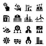 Bourse des valeurs et icônes de marché boursier Photos stock