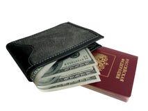 Bourse noire avec de l'argent. Images stock