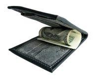 Bourse noire avec des dollars. Image libre de droits