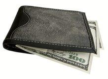 Bourse noire avec des dollars. Photos stock