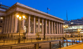 The Bourse of Paris-Brongniart palace at night, France. Royalty Free Stock Images