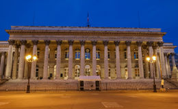 The Bourse of Paris- Brongniart palace at night,Paris, France. Royalty Free Stock Image