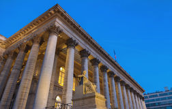 The Bourse of Paris- Brongniart palace at night,Paris, France. Royalty Free Stock Images