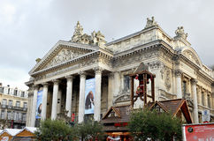 Bourse square in Christmas in Brussels stock photography