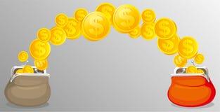 Bourses d'argent liquide avec de l'argent Photos stock