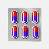 boursouflure 3d avec des capsules Comprimé médical de drogue pour le traitement de maladie et de douleur : calmant, vitamine, ant Images libres de droits