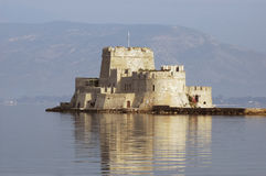 Bourtzi castle. Scenic view of Bourtzi castle in Nafplio harbor, Peloponnese, Greece Stock Images