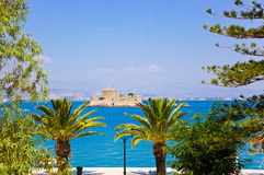Bourtzi castle island in Nafplion, Greece Royalty Free Stock Images
