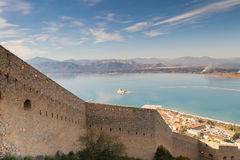 Bourtzi castle landscape at Nafplio in Greece. View from Palamidi castle. Royalty Free Stock Photos