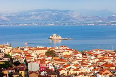 Bourtzi castle in Nafplio. Bourtzi is a water castle located in the middle of Nafplio harbour. Nafplio is a seaport town in the Peloponnese peninsula in Greece stock photo
