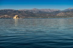 Bourtzi fortress in Nafplio Peloponnese Greece. Bourtzi water fortress in Nafplio Peloponnese peninsula in Greece royalty free stock images
