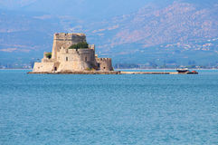 Bourtzi fortress, a prison in the sea in front of Nafplio town Royalty Free Stock Images