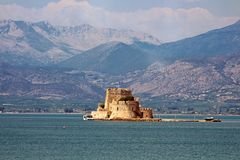 Bourtzi fortress, a prison in the sea in front of Nafplio town t. He first capital of Greece, Europe stock photography