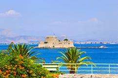 Bourtzi Schlossinsel in Nafplion, Griechenland Lizenzfreies Stockfoto