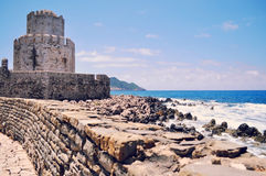 Bourtzi torn i Methoni Arkivbilder