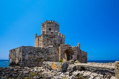 The Bourtzi tower in Methoni, Messenia, Greece. The Methoni Venetian Fortress in the Peloponnese, Messenia, Greece royalty free stock photography