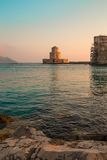 The Bourtzi tower in Methoni , Peloponnese, Greece. The Methoni Venetian Fortress in the Peloponnese, Messenia, Greece royalty free stock images
