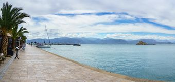 Bourtzi water castle in the harbour of Nafplio stock images