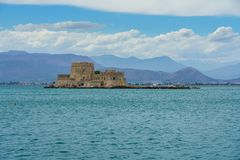 Bourtzi water castle in the harbour of Nafplio royalty free stock photos