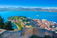 The Bourtzi water castle is a small island with a fortress at the coast of Nafplio in Greece royalty free stock photo