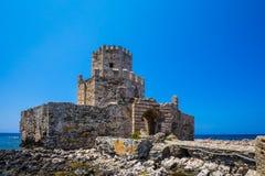 Bourtzi wierza w Methoni, Messenia, Grecja Fotografia Royalty Free