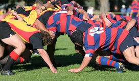 Bousculade de rugby, action de rugby de club Photographie stock