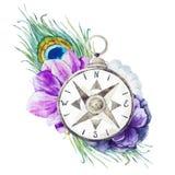 Boussole avec des fleurs illustration stock