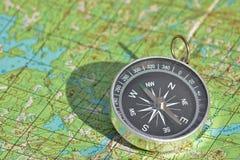 Boussole et carte - voyageurs d'amis Photo libre de droits