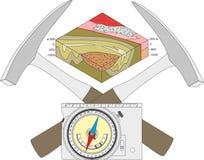 Boussole géologique, marteau géologique et un schéma fonctionnel Photo stock