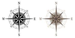 Boussole, illustration d'isolement de vecteur dans des versions noires et de couleur illustration de vecteur