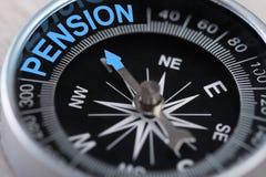 Boussole indiquant la pension Images stock