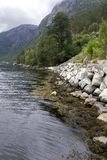 Bout droit de littoral chez Langfoss Photos libres de droits