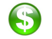 Bout en verre de symbole d'argent du dollar Photos libres de droits