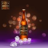 Bouteille à bière réaliste de Brown avec de la glace à l'arrière-plan Photographie stock libre de droits