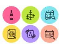 Bouteille à bière, schéma fonctionnel et ensemble d'icônes de carte de recherche Algorithme technique, dossier de Seo et signes m illustration libre de droits