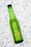 Bouteille à bière verte éclairée à contre-jour sur la glace Images stock