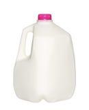Bouteille à lait de gallon avec le chapeau rose d'isolement sur le blanc Photographie stock libre de droits