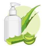 Bouteille avec de la crème ou le savon de Vera d'aloès Photo libre de droits