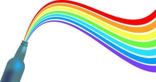 Bouteille avec l'arc-en-ciel illustration libre de droits